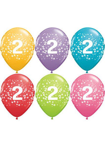 Number - 2 - Stars A-Round Dimond Clear 11in Latex Balloon 50pk