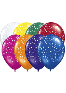 Stars A-Round Assorted Jewel Tone Colours 11in Latex Balloons 50pk