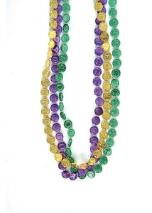33in Mardi Gras Coin Beads 12pk