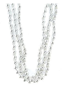 Silver Beads - 33in Bead Necklace - 12pk