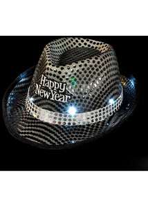 Hat - Happy New Year Light Up Sequin Fedora