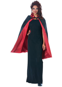 Cape - Reversible 45in Black-Red Taffeta Fabric Cape with Collar