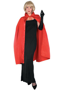 Cape - 45in Satin Cape with Collar-Red