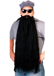 Beard with Moustache - Mohair 25in Long Beard with Moustache - Black