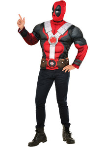 Deadpool Costume Top Muscle Chest & Mask