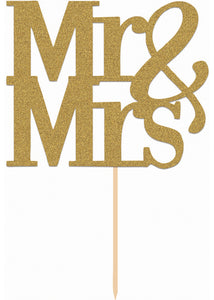 Cake Topper - Mr & Mrs Gold 4.5 by 4 inches