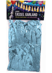 Balloon Tassels - Blue - Light Blue Holographic 6ft Garrland with 12in Tassels