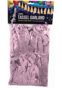 Balloon Tassels - Pink - Light Pink Holographic 6ft Garrland with 12in Tassels
