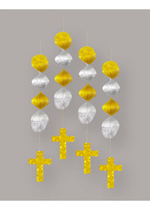 Decoration - 18in Prismatic Crosses 4pk - Gold & Silver