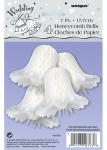 Bells - 7in Honeycomb Wedding Bells 4pk