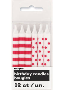Stripes and Dots Candles 12pk - Red