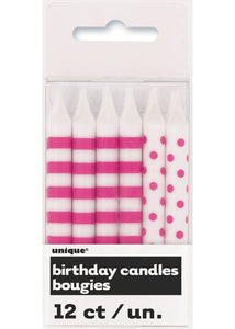 Stripes and Dots Candles 12pk - Hot Pink