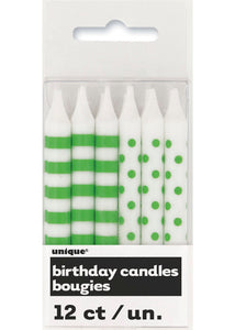 Stripes and Dots Candles 12pk - Lime Green