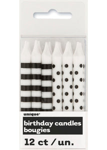 Stripes and Dots Candles 12pk - Black/White