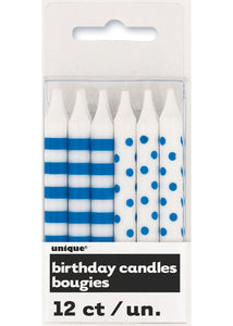 Stripes and Dots Candles 12pk - Royal Blue