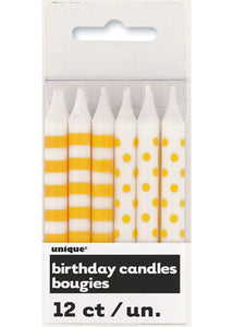 Stripes and Dots Candles 12pk - Yellow