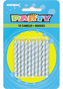Spiral Candles 10pk - Silver