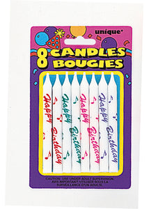 Happy Birthday Candles 8pk - White