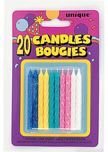 Spiral Candles 20pk - Assorted Glitter Colours