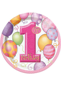 First Birthday Balloons Pink Plate - 1st Birthday 9in Plates 8pk