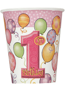 "First Birthday Balloons Pink Cup - ""1st Birthday"" 9oz Cups 8pk"