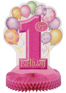 "First Birthday Balloons Pink Decoration - ""1st Birthday"" Balloons Honeycomb Centerpiece"
