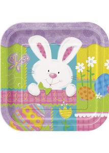 Patchwork Bunny Plate - 7in Square Plates 10pk