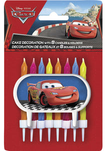 Disney Cars Candles with Holders & Cake Decoration 8pk