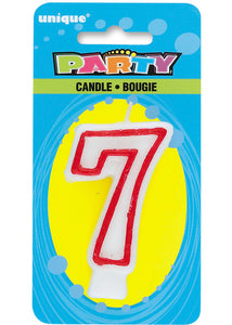 7 - Numeral Candle - Red and White