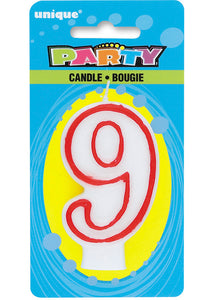 9 - Numeral Candle - Red and White
