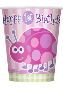 1st Birthday Ladybug Cup - 9oz Hot/Cold Paper Cups 8pk.