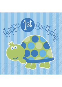1st Birthday Turtle Napkin - Beverage Napkins 16pk