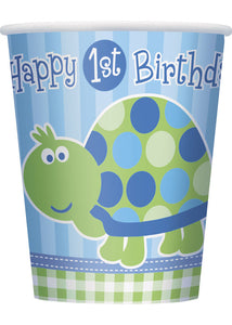 1st Birthday Turtle Cup - 9oz Hot/Cold Paper Cups 8pk.