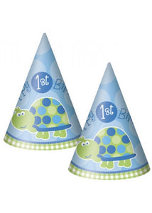 1st Birthday Turtle Novelty - Cone Hats 8pk