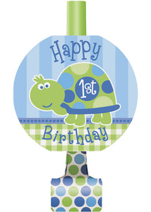 1st Birthday Turtle Novelty - Blowouts 8pk