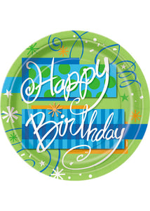 "Bright Birthday Plate - ""Happy Birthday"" 9in Plates 8pk"