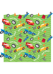 Value Gift Wrap-Race Car Bday
