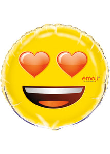 Emoji Heart Eyes 18in Foil Balloon