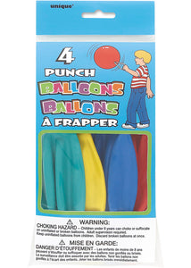 Punch Latex Balloons-Assorted Colours 4pk