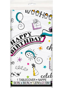 Doodle Birthday Tableware - Plastic Tablecover 54in x 84in