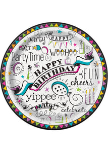 Doodle Birthday Plate - 9in Happy Birthday Plates 8pk