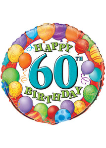 Number 60 - Happy 60th Birthday 18in Foil Balloon