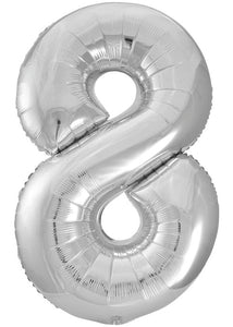 34in Silver (UN) Number 8 Foil Balloon