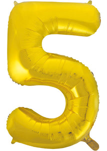 34in Gold (UN) Number 5 Foil Balloon