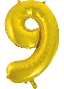 34in Gold (UN) Number 9 Foil Balloon