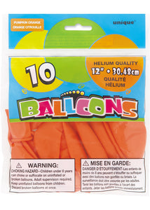 Orange - Pumpkin Orange 12in Latex Balloons 10pk
