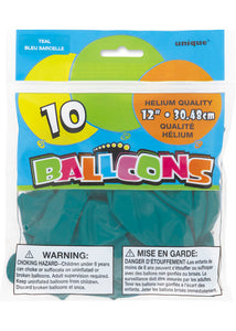 Teal 12in Latex Balloons 10pk
