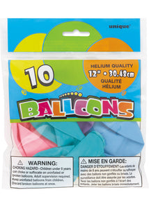 Assorted Colours - Pastel Colours 12in Latex Balloons 10pk