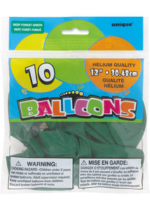 Green - Deep Forest Green 12in Latex Balloons 10pk