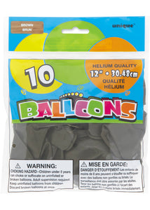 Brown 12in Latex Balloons 10pk